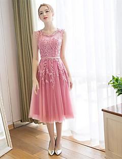 Cocktailfest Dress A-linje Dyp utringing Ankellang Blonder / Sateng med Appliqué