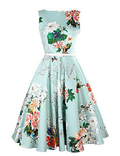 Women's Party Vintage A Line Dress,Floral Round Neck Midi Sleeveless Blue Cotton Summer
