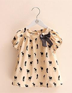 여자의 티셔츠 프린트 캐쥬얼/데일리 여름 면 베이지
