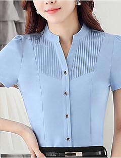 Vrouwen Grote maten Zomer Overhemd,Werk Effen Ronde hals Korte mouw Blauw / Wit Polyester Medium
