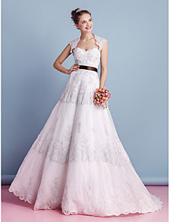 Lanting Bride® A-line Wedding Dress Two-In-One Wedding Dresses / Wedding Dresses With Wrap Sweep / Brush Train Sweetheart Lace with Lace