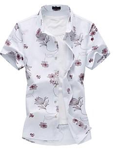 男性用 フラワー カジュアル / プラスサイズ シャツ,半袖 コットン / ポリエステル ブルー / レッド