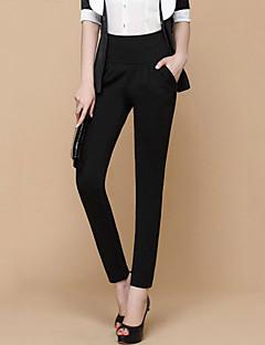 Women's High Waist Bodycon Thin OL Style Solid Black Long Harem Pants,Plus Size / Work