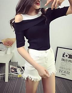 Women's Patchwork Black Pullover,Street chic Short Sleeve