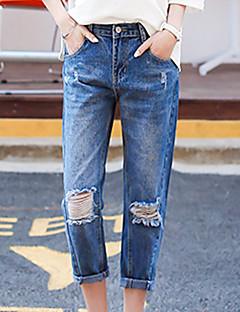 Mulheres Calças Moda de Rua Jeans Algodão Sem Elasticidade Mulheres