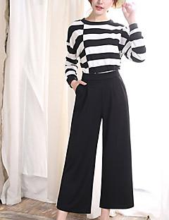 Kvinner Bred Bukseben Bukser Polyester Mikroelastisk