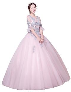 Serata formale Vestito Da ballo Con decorazione gioiello Lungo Tulle con Con applique