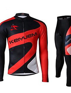 骑缘 Cycling Jersey with Tights Women's Men's Unisex Long Sleeve BikeWaterproof Breathable Quick Dry Windproof Insulated Rain-Proof Dust