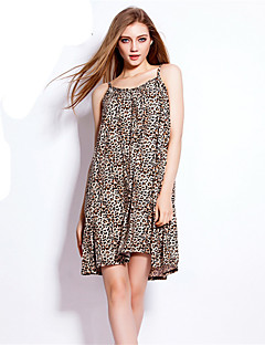 Women's Simple Animal Print Loose Dress,Strap Above Knee Cotton