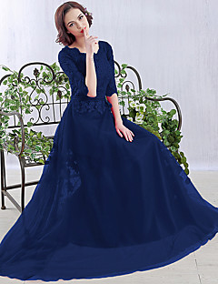 포멀 이브닝 드레스 A-라인 스쿱 바닥 길이 쉬폰 와 아플리케