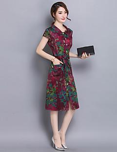 Women's Work / Plus Size Vintage A Line Dress,Print Shirt Collar Midi Short Sleeve Blue / Red / Yellow Silk Summer