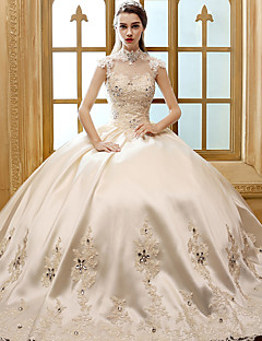 A-line Wedding Dress Floor-length High Neck Satin with Appliques / Crystal