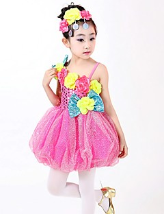 Performance Dresses Children's Performance Polyester Sequins 3 Pieces Fuchsia / Green / Yellow