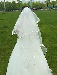 Wedding Veil Two-tier Fingertip Veils Ribbon Edge Tulle White