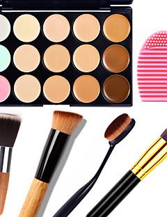 1db 15 szín álcázás természetes vonalát arckrém / arc rejtegető smink paletta + 1 kontúr ecset + 1 kefe tojás
