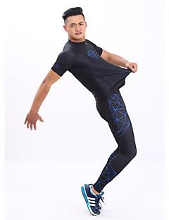 GETMOVING 男性用 女性用 ランニングTシャツ(パンツ付き) 半袖 速乾性 人間工学デザイン 抗紫外線 高通気性 (>15,001g) 高通気性 ソフト ホールドフィット 滑らか ビデオ圧縮 モイスチャーコントロールトラックスーツ ベースレイヤー