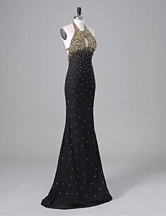 ts couture® vestido de noite formal trompete / sereia halter até o chão chiffon / charmeuse com beading