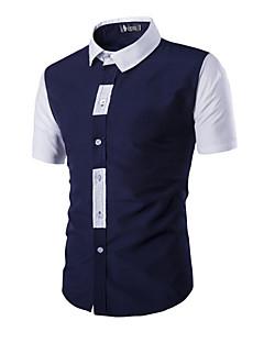 Summer Men Short Sleeve Dress Shirts Men Fashion Patchwork Casual Slim Fit Men's Social Shirts Blue Black Red White