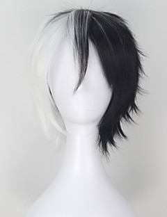 Cosplay Wigs Dangan Ronpa Monokuma Black / Gray Short Anime Cosplay Wigs 32 CM Heat Resistant Fiber Male