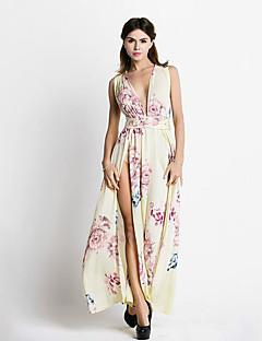 Women's Sexy / Boho Print Backless Split Criss-Cross Chiffion Lace Up Sheath Dress,Deep V Maxi