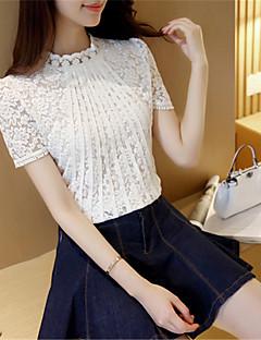 Mulheres Camiseta Happy-Hour SimplesSólido Branco / Preto Poliéster Decote Redondo Manga Curta Fina