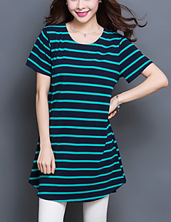 Women's Striped Red / Green Long section T-shirt,Plus Size /Casual Loose Thin Two Ways Wear Short Sleeve Cotton/Spandex
