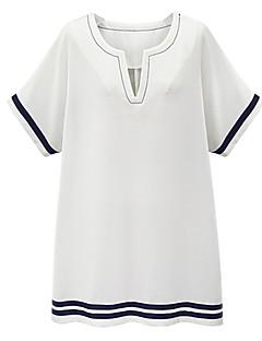 Kvinders Street Casual/hverdag / Plusstørrelser T Shirt Kjole Stribet,V-hals Over knæet Kortærmet Blå / Hvid Bomuld / Hør Sommer