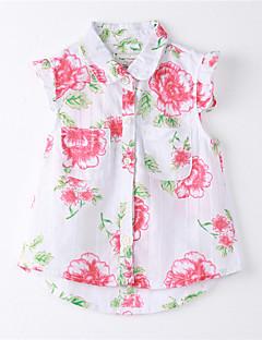 חולצה דפוס כותנה קיץ לבן הילדה של