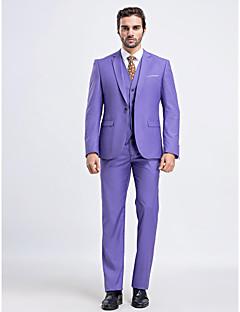 Suit Dar Kalıp Dar Çentik Tek Sıra Düğmeli Bir Düğme 3 Parça Lavanta Düz Kapak