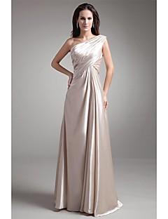 Formal Evening Dress A-line One Shoulder Floor-length Stretch Satin with Beading / Pleats