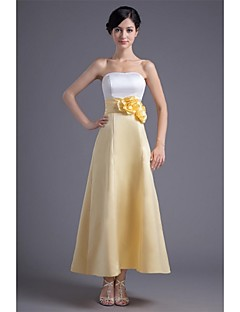 Formal Evening Dress A-line Strapless Ankle-length Satin with Flower(s) / Pleats