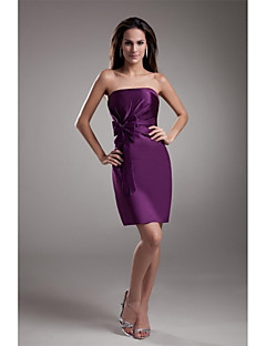 Short / Mini Satin Bridesmaid Dress Sheath / Column Strapless with Bow(s) / Pleats
