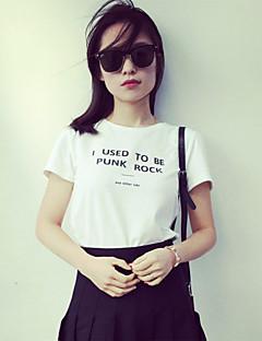 Mulheres Camiseta Casual Simples Verão,Letra Rosa / Branco / Preto / Cinza Algodão / Linho Decote Redondo Manga Curta Fina