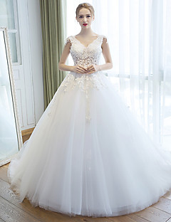 A-line Wedding Dress Court Train V-neck Organza with Flower / Pearl / Appliques / Beading