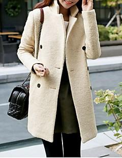 Women's Casual/Daily Simple Coat,Solid Notch Lapel Long Sleeve Fall Beige Wool Medium