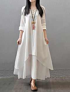 Women's Casual/Daily Simple / Chinoiserie Loose Dress,Solid V Neck Maxi Long Sleeve Red / White / Yellow Cotton / Polyester Fall