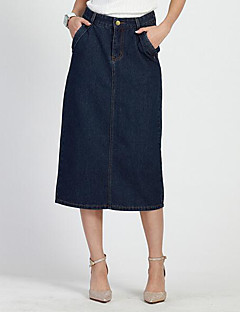 Kvinders Simpel Midi Nederdele Mikroelastisk Bomuld / Polyester