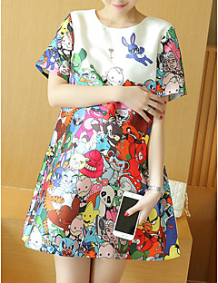 Maternity Casual/Daily Cute Loose Dress,Print Round Neck Above Knee Short Sleeve White Rayon Spring