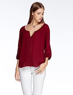 heartsoul vrouwen uitgaan eenvoudige zomer t-shirt, vaste v-hals driekwart mouw rood / wit / oranje polyester dunne