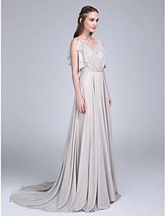 Lanting Bride® Sweep / Brush Train Chiffon Bridesmaid Dress A-line V-neck with Buttons / Ruffles / Criss Cross