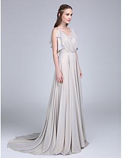 Lanting Bride® Süpürge / Fırça Kuyruk Şifon Nedime Elbisesi A-Şekilli V-Yaka ile Düğme / Fırfırlar / Haç