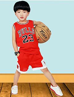 Boys' Sports Solid Sets,Polyester Summer Sleeveless Clothing Set