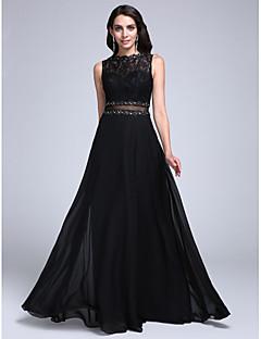 TS Couture® 포멀 이브닝 드레스 A-라인 보트넥 바닥 길이 쉬폰 / 레이스 와 아플리케 / 비즈 / 레이스
