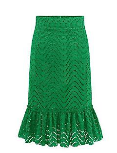 Women's Solid Black / Green Skirts,Street chic Midi