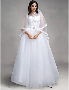 Ball Gown Wedding Dress Floor-length High Neck Tulle with Appliques / Sequin