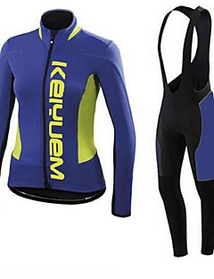 KEIYUEM® חולצת ג'רסי וטייץ ביב לרכיבה יוניסקס שרוול ארוך אופנייםנושם / ייבוש מהיר / עמיד לאבק / לביש / דחיסה / 3D לוח / כיס אחורי / נגד