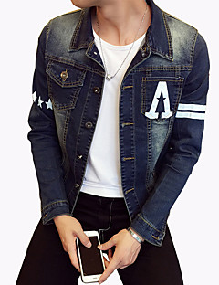 Men's Fashion Letter Print Slim Fit Casual Long Sleeve Denim Jacket,Cotton/Print/Casual/Plus Size