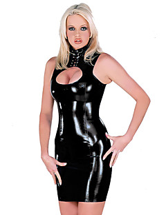 Women's Sleeveless Tank PVC Leather Catsuit Party Dress