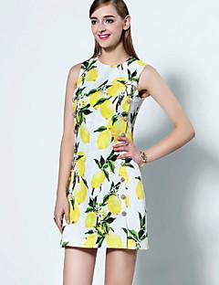 Damen Swing Kleid-Ausgehen Anspruchsvoll Druck Rundhalsausschnitt Übers Knie Ärmellos Gelb Polyester Sommer