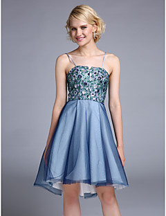 Cocktail Party Dress - Sparkle & Shine A-line Spaghetti Straps Asymmetrical Tulle / Sequined with Lace / Sequins